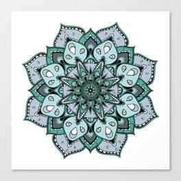 Mandala green stars By Sonia H. Canvas Print