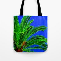 palm tree Tote Bags featuring Palm Tree by Phil Smyth