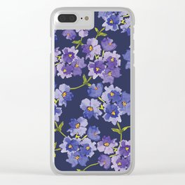 Purple Watercolour Blossom All Over Pattern Clear iPhone Case