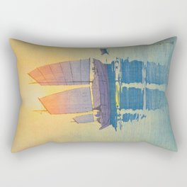 Sailing Boats, Morning Hiroshi Yoshida Modern Japanese Woodblock Print Rectangular Pillow