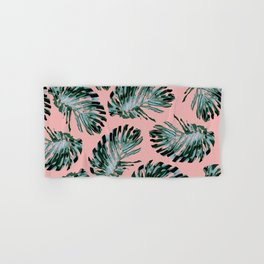 Pink and Green Tropical Leaf Print Hand & Bath Towel