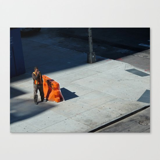Smoking Construction Worker Canvas Print