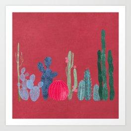 Cactus garden on coral pink Art Print