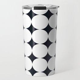 Large White Dots on Black Travel Mug