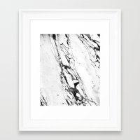 white marble Framed Art Prints featuring Marble by Judith Abbott