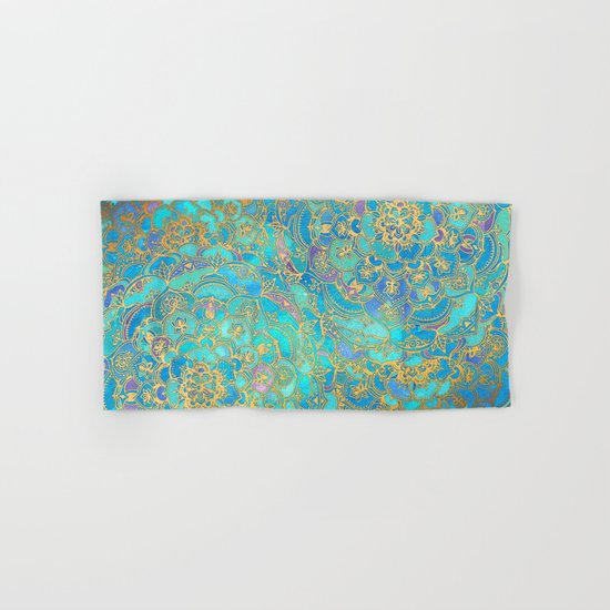 Sapphire & Jade Stained Glass Mandalas Hand & Bath Towel