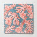 Island Life Coral on Deep Teal Blue by followmeinstead