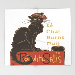 Le Chat  Burns Nuit With Haggis and Dram Throw Blanket