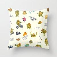 teenage mutant ninja turtles Throw Pillows featuring Teenage Mutant Ninja Turtles by catalinabu