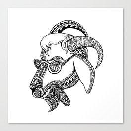 Goat Cigar Tribal Tattoo Style Canvas Print