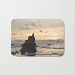 Arcadia Beach Sunset Lion Rock Oregon Coast Pacific Ocean Bath Mat