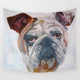 American Bulldog Portrait: Yale Mascot Wall Tapestry