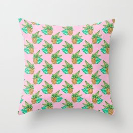 Tropical Leaves and Pineapples on Pink Throw Pillow