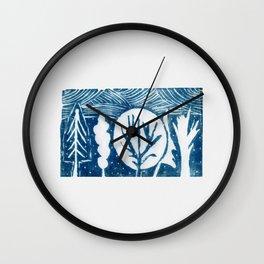 linocut trees print Wall Clock