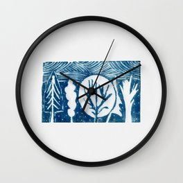 linocut trees print Wall Clock