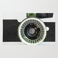 vintage camera Area & Throw Rugs featuring Vintage camera by cafelab