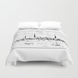 Riga 1544 (black on white) Duvet Cover