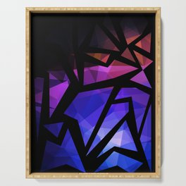 Abstract print of triangles polygon print. Bright dark design colors Serving Tray