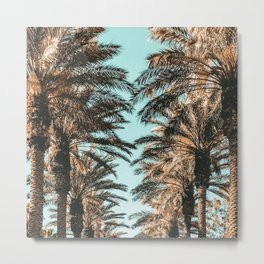 {1 of 2} Palm Tree Canopy // Tropical Summer Beach Teal Shaded Sky Metal Print