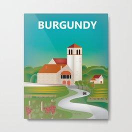 Burgundy, France - Skyline Illustration by Loose Petals Metal Print