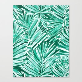 ON VACAY Green Palm Leaves Canvas Print