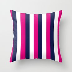 Stripes - Navy, White, Pink Throw Pillow