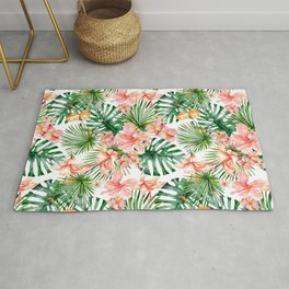 Tropical Jungle Hibiscus Flowers - Floral Rug