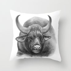 Indian Bison by Magda Opoka Throw Pillow