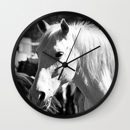 White Horse-B&W Wall Clock
