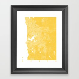 Perth map yellow Framed Art Print