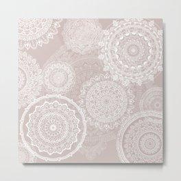 Mandala rain white on taupe Metal Print