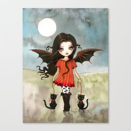 Child of Halloween Cute Gothic Vampire Child and Black Cats Illustration Canvas Print