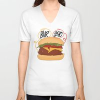 burger V-neck T-shirts featuring Burger! by Chelsea Herrick
