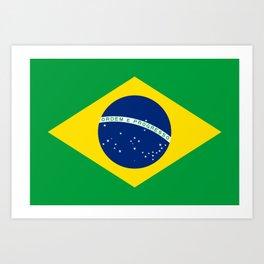 Brazil flag - Brazilian Flag Art Print