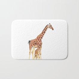 Giraffe Art - A Mother's Love - By Sharon Cummings Bath Mat