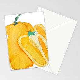 yellow bell pepper watercolor Stationery Cards