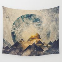 aqua Wall Tapestries featuring One mountain at a time by HappyMelvin