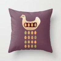 chicken Throw Pillows featuring Chicken by Mira Maijala