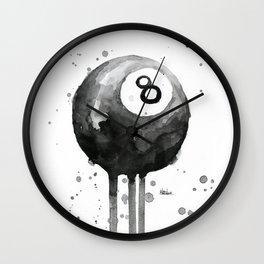 8-Ball Watercolor Black Pool Billiards Eight Ball Art Wall Clock