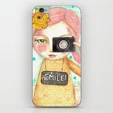 Smile ! girl with photo camera iPhone & iPod Skin