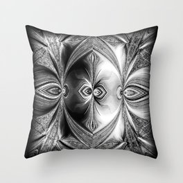 Abstract Peacock. Black+White. Throw Pillow