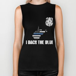 West Virginia Police Appreciation Thin Blue Line I Back The Blue Biker Tank