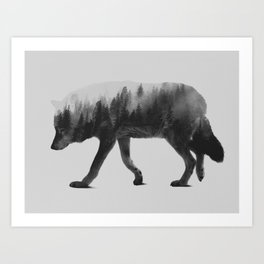 The Wolf (black & white version) Art Print