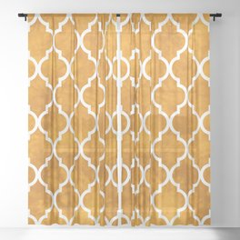 Classic Quatrefoil Lattice Pattern 903 Yellow Sheer Curtain