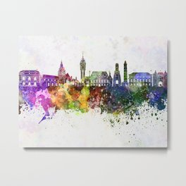 Calais skyline in watercolor background Metal Print