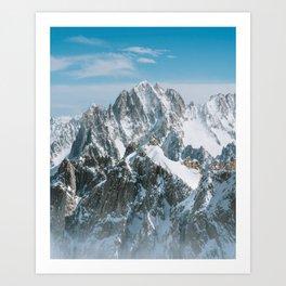 snow covered peaks Art Print