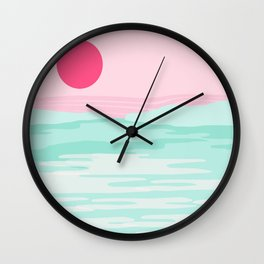 Really - 80s style throwback sunset sunrise west coast socal vibes surfing beach vacation Wall Clock