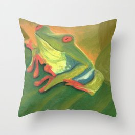Happy Little Green Tree Frog Throw Pillow