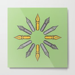 Dip Pen Nibs Circle (Green, Yellow, Grey) Metal Print