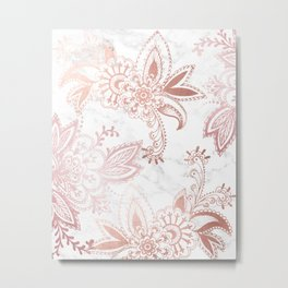 Rose Gold Paisley Metal Print